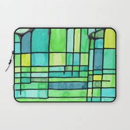 Green Frank Lloyd Wrightish Stained Glass Laptop Sleeve