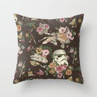 geek Throw Pillows featuring Botanic Wars by Josh Ln