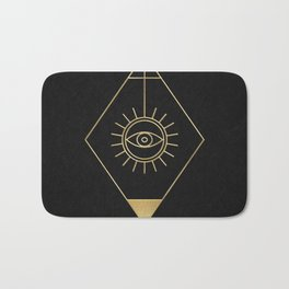 Mystic Eye Symbol Gold And Black Bath Mat