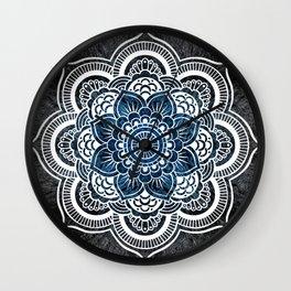 Black White Blue Colorburst Mandala Wall Clock