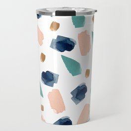 turquoise, navy, pink & gold Travel Mug