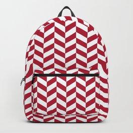 Crimson Red Herringbone Pattern Design Backpack