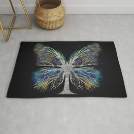 Butterfly Tree - Silver Color Mist Rug