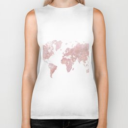 Rose Quartz World Map Biker Tank