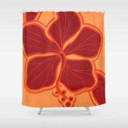 Kailua Hibiscus Hawaiian Sketchy Floral Design Shower Curtain