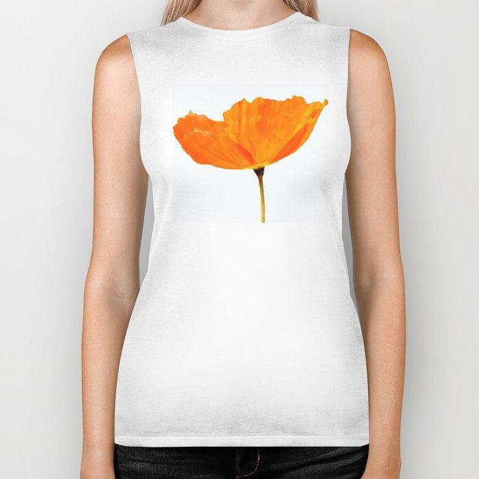 One And Only - Orange Poppy White Background #decor #society6#buyart Biker Tank