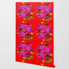 Orange Violets Wallpaper