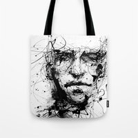 ink Tote Bags featuring lines hold the memories by agnes-cecile