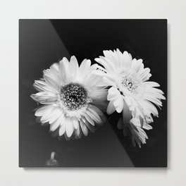 Flowers in Black and White - Nature Vintage Photography Metal Print