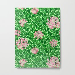 William Morris Honeysuckle, Pink and Emerald Green Metal Print