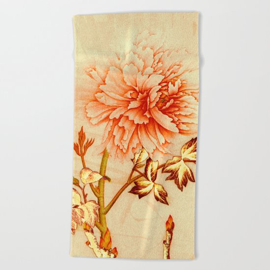 peach and golden floral Beach Towel