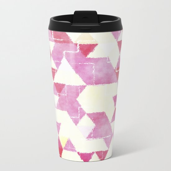 Abstract Pink Triangles, Watercolor Pattern Metal Travel Mug