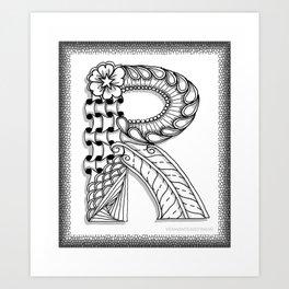 Zentangle R Monogram Alphabet Illustration Art Print