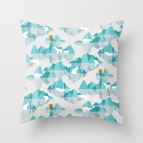 Polar Bear Throw Pillow : polar bear on floating iceberg Throw Pillow by Frameless Society6
