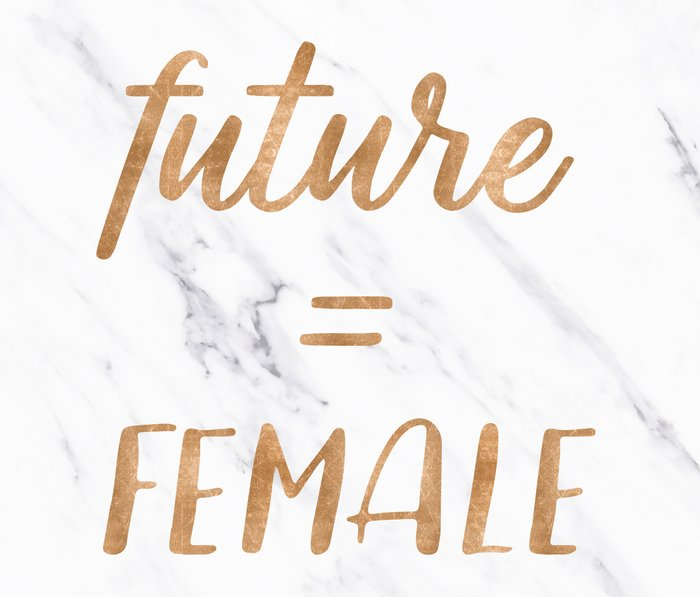 The Future is Female Copper Bronze Gold on Marble Travel Mug