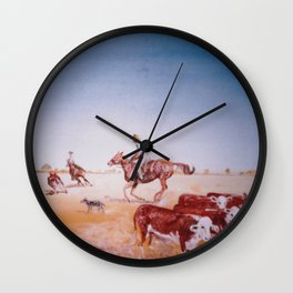 Rousting the Cattle, AUSTRALIA         by Kay Lipton Wall Clock