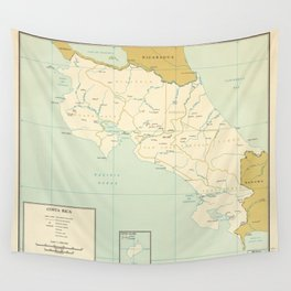 Map of Costa Rica (1963) Wall Tapestry