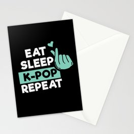 K-Pop Design: Eat Sleep K-pop Repeat Stationery Cards