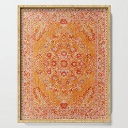 N78 - Orange Antique Oriental Berber Moroccan Style Carpet Design. Serving Tray