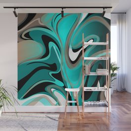 Liquify 2 - Brown, Turquoise, Teal, Black, White Wall Mural