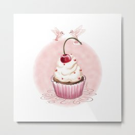 Cherry Cupcake Metal Print
