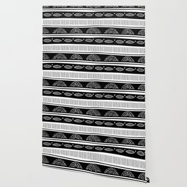 Blac ad white tribal pattern Wallpaper