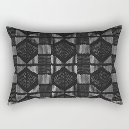 Mud Cloth Black & White Rectangular Pillow