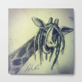 Giraffe with Dreadlocks Metal Print