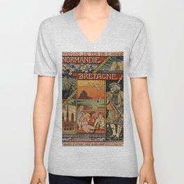 Vintage French Travel Poster: Normandy, Brittany, etc (1900) Unisex V-Neck