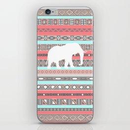Elephant Aztec Pattern Pastel Peach Aqua Print iPhone Skin