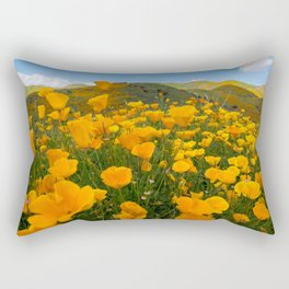 Wide angle view of orange poppies at Walker Canyon in Southern California during the super bloom Rectangular Pillow