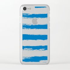 Nautical Blue STRIPES Handpainted Brushstrokes Clear iPhone Case