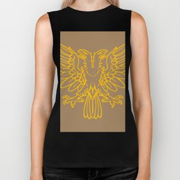 yellow double-headed eagle on brown background Biker Tank