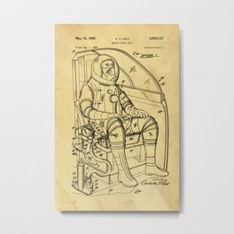 Mobile Space Suit Support Patent Drawing From 1956 Metal Print