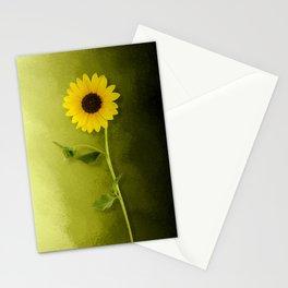 Single Long Stem Sunflower Stationery Cards