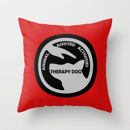 Animal Assisted Activities  - THERAPY DOG logo black white Throw Pillow