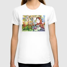Portrait of a Girl with a Flower Bouquet T-shirt