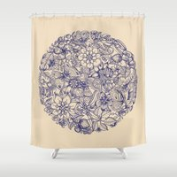 garden Shower Curtains featuring Circle of Friends by micklyn