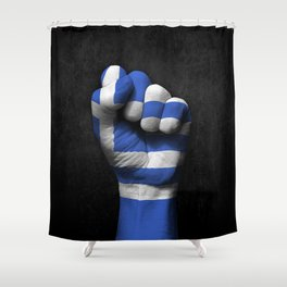 Greek Flag on a Raised Clenched Fist Shower Curtain
