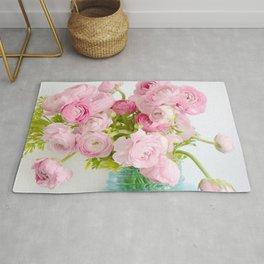 Dreamy Shabby Chic Ranunculus Peonies Roses Print - Spring Summer Garden Flowers Mason Jar Rug