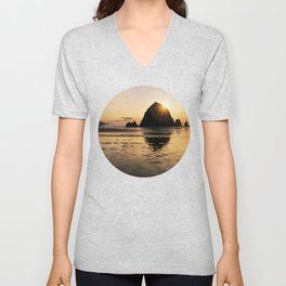 Cannon Beach haystack Unisex V-Neck