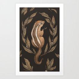 The Chipmunk and Bay Laurel Art Print