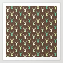 Brown ivory pastel green vector deer animal pattern Art Print