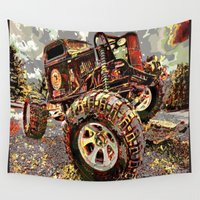 truck Wall Tapestries featuring mud truck by Vector Art