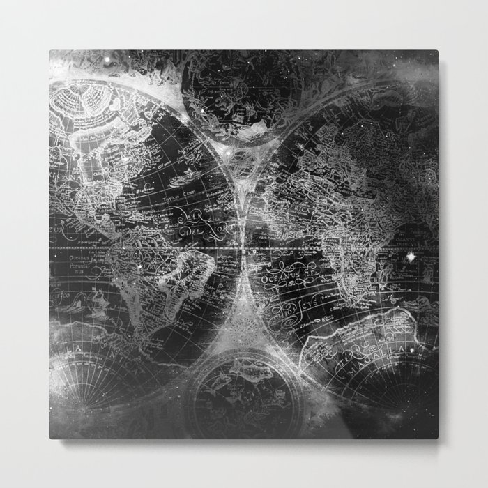 Antique map space stars black and white metal print