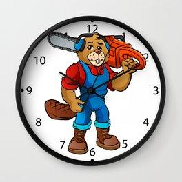 Beaver Lumberjack Cartoon Wall Clock