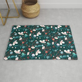 Flowers and Dice Rug