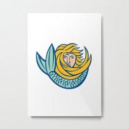 Mermaid with flowing gold hair Retro Metal Print