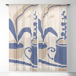 blue vase Sheer Curtain