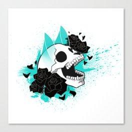 Skull 'n' Roses (ScribbleNetty-Colored) Canvas Print